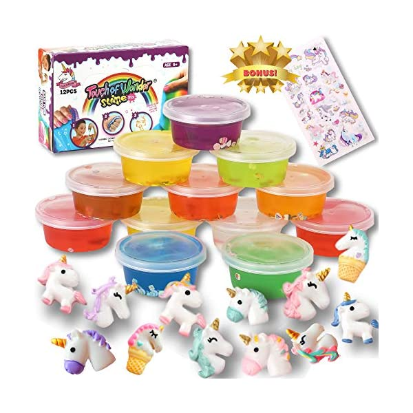 Unicorn Slime Kit for Girls Boys. 12 Slime, 12 Unicorn Charms & Unicorn Stickers. Super Soft, Fluffy & Stretchy. Unicorn… 3