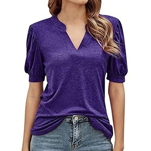 FrüHling Und Sommer Damen Casual Pullover V-Ausschnitt Einfarbig Laterne ÄRmel Schlank Kurzarm T-Shirt Top Damen