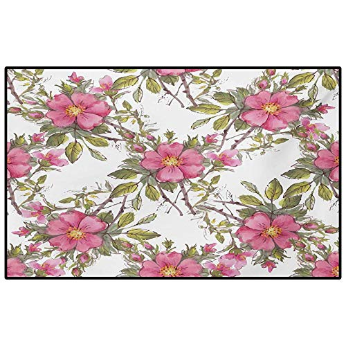 Flower Kitchen Rugs Rugs for Bedroom Watercolor Dog Rose Garden Pattern with Leaves and Buds Image Best Funny Gifts Pale Pink White and Lime Green 6.5 x 9.8 Ft