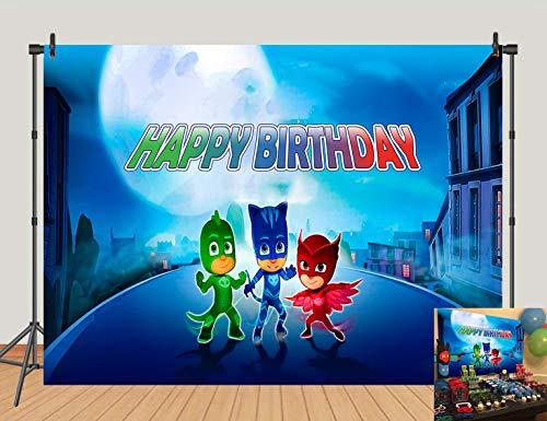 5X3FT Cartoon PJ Mask Photography Background Suphero Super City Baby Shower Birthday Party Photo Background Boys Kids Studio Booth Banner
