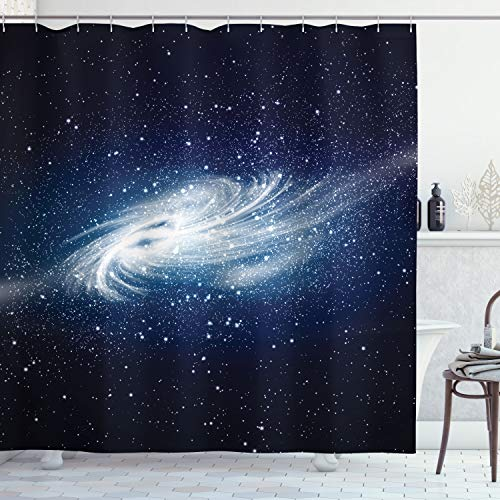 """Ambesonne Outer Space Shower Curtain, an Image of Spiral in The Galaxy with Star and Celestial Cosmos Expanse of Universe in a Modern, Cloth Fabric Bathroom Decor Set with Hooks, 70"""" Long, Navy White"""