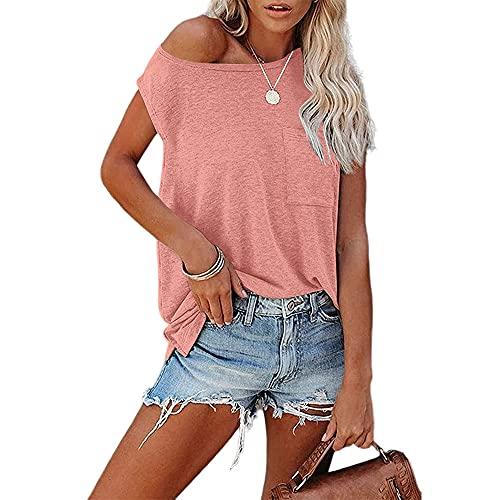 Camiseta Sin Mangas Mujer Tops Sencillez Moda Verano Cuello Redondo Mujer Blusa Exquisito Sexy Bolsillo Sin Mangas Diseño Diario Casual Ligero Cómodo All-Match Mujer T-Shirt H-Pink XL