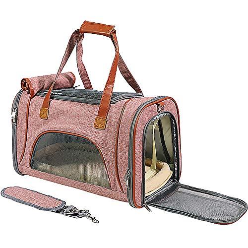 HYFDGV Hundetasche Flugzeug Handgepäckhundetransportbox für Kleine HundeZusammenklappbar Wasserdicht Transporttasche für Hunde Travel Tote Weiche Seiten Tasche für Hund Katzen,Light pink