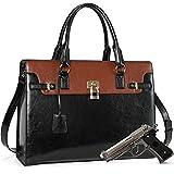 BOSTANTEN Briefcase for Women Leather Laptop Handbag 15.6 Inch Computer Bag Shoulder Work Tote Stylish Black
