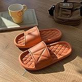 WUHUI Zapatillas de Baño, Sandalias Verano Antideslizante Zapatillas, Zapatillas de Masaje Impermeables cómodas Planas para Mujer, Orange_35
