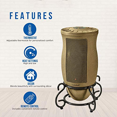 Lasko Designer Series Ceramic Space Heater-Features Oscillation, Remote, and Built-in Timer, Beige