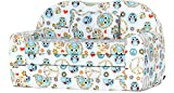 Ladeheid Kindersofa Kindercouch Bettfunktion LATE1004 (Weiß/Eulen, 170 x 100 x 60 cm)