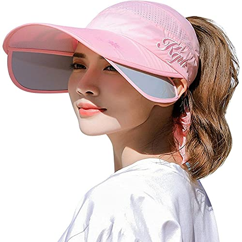XCZWG Sombrero para El Sol De Golf EláStico Ancho con Visera para Mujer,Mujer con Placa De TraccióN RetráCtil Tapa Superior VacíA ProteccióN De ala Ancha,Transpirable Sombrero De Sol Rosa