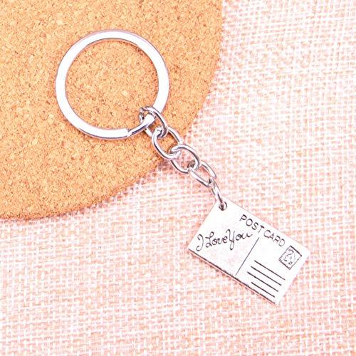 YCEOT ansichtkaart Ik hou van je charme hanger sleutelhanger sleutelhanger ketting accessoires sieraden maken voor geschenken