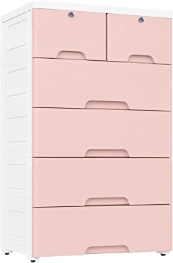 Nafenai Plastic Drawers Dresser,Storage Cabinet with 6 Drawers,Closet Drawers Tall Dresser Organizer for Clothes,Playroom,Bed