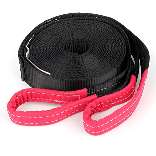 TUPARTS 1pcs Tow Straps Tie Downs Winch Straps 9000 LBS Capacity Industrial-Grade Tie Down Snatch Straps with Looped End for Heavy Duty Tree Saver and Off Road Towing Recovery (Black 2 in x 30 ft)