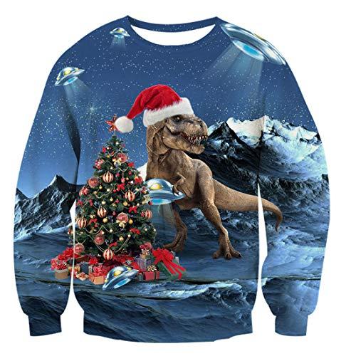 TUONROAD Ugly Christmas Sweater Dinosaurier Weihnachtspullover Funny Pullover Weihnachten Sweatshirt für Herren Damen XL
