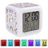 su ma Unicornio Despertador Digital,LED de noche que brilla intensamente Reloj LCD, Despertador de Unicornio para Niños, Reloj de Cabecera con 7 Luces de Noche Coloridas, Regalos de cumpleaños