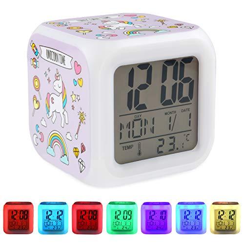 su ma Sveglie digitali Unicorn, Sveglie da Comodino con Wake-up LightWake-up Sveglia, Orologio per Bambini, LED Night Cube incandescente Orologio LCD, Regali di compleanno