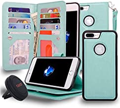 navor Magnetic Detachable Wallet Case and Universal car Mount [RFID Protection][10 Card Slots] [3 Money Pocket] Compatible for iPhone 7 Plus -5.5 Inch [JOOT-3L]- Mint (IP7P3LMN)