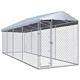 vidaXL Outdoor Dog Kennel with Roof Lockable Mesh Sidewalls Heavy Duty Garden Backyard Pet Cage 299'x75.6'x88.6' Galvanized Steel