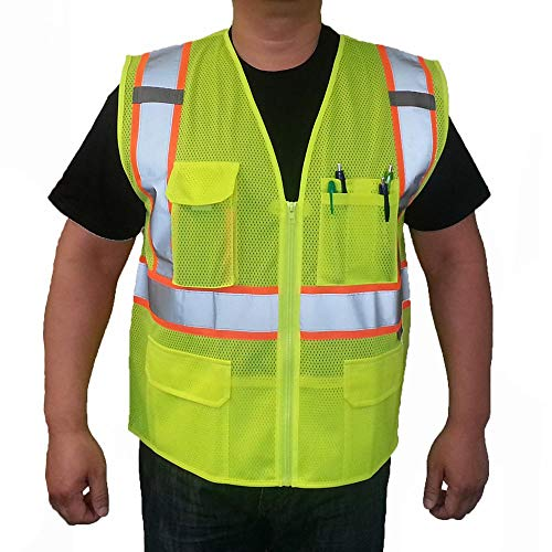 3C Products ANSI/ISEA 107-2015 Class 2 Deluxe Mesh Multi Pockets Surveyor Vest Neon Green