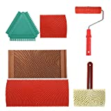 6pcs Rubber Wood Graining Painting Tool Set for Wall Decoration, 7 Inch Empaistic Wood Pattern Painting Roller Kit