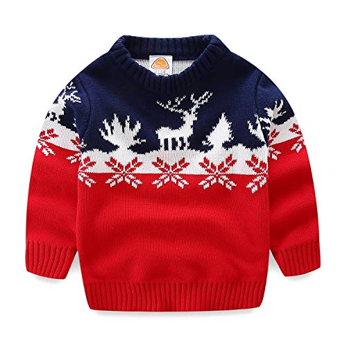 Mud Kingdom Toddler Boy Christmas Sweater Red Reindeer 4T Red