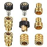 Tool, set di adattatori per idropulitrici quotidiani, da M22 a 3/8' Quick Connect, 3/4 di pollice a sgancio rapido, adattatore per tubo maschio M22, confezione da 9