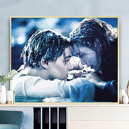 LKJHGU Sin Marco clásico Personaje de película de Amor Titanic Pintura al óleo clásica Lienzo Impreso Boda decoración de la Sala de Estar Regalo