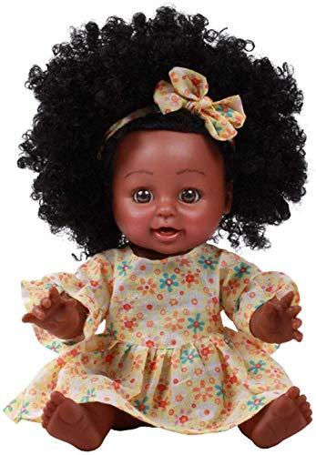 Muñeca Africana dangyin, muñeca Africana de Cuero Negro, 35 cm / 13 8 Pulgadas, muñeca Reborn, muñeca de Silicona de simulación Lavable, Regalo para niños-Vestido Amarillo 35 Cm
