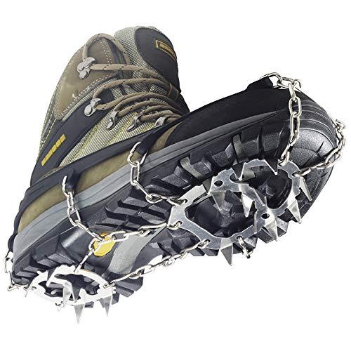 YUEDGE Crampons Universal 18 Stahl Zähne Anti-Rutsch Spikes EIS Und Schnee Traktion Edelstahl Steigeisen (XL, schwarz)