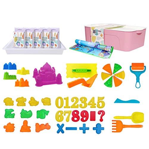 Children's Magische Zand (2,5 Kg), Air Klei Kostuums, Met Yogamatten, Opbergdoos, Zandbak Speelgoed Voor Kinderen DIY Creative Arts (Paarse)