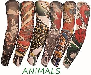 SHINA Lot 6pcs Set Arts Fake Temporary Tattoo Arm Sunscreen Sleeves Designs Tiger, Crown Heart, Skull, Tribal, Animal, Dragon, Skull