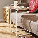 LXFA Beistelltisch Konsolentische Kleiner Couch-Beistelltisch - C-förmiger Snacktisch für Wohnzimmer/Schlafzimmer/kleine Räume - Moderner Beistelltisch Aus Holz Mit Metallrahmen