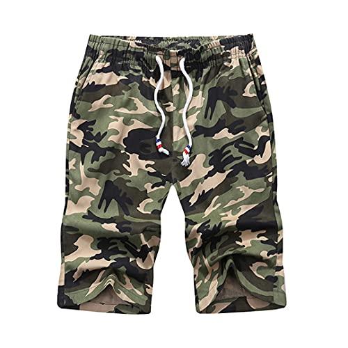 TN-KENSLY Pantalones Cortos Camuflaje para Hombre Pantalones Cortos Playa Camuflaje Carga Militar Pantalones Cortos para Correr Camo-Khaki 3XL