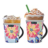 Beautyflier Pack of 2 Reusable Iced Coffee Cup Insulator Sleeve with Handle for Cold Beverages, 16-22oz Neoprene Holder for Starbucks Coffee, McDonalds, Dunkin Donuts (Pattern1)