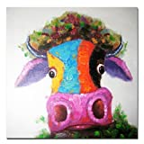 Muzagroo Art Hand Painted Oil Painting on Canvas Happy Cow Wall Art Decor for Living Room Ready to Hang (32x32in)