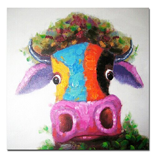 Muzagroo Art Oil Painting Cute Colorful Cow Paintings Hand Painted on Canvas Pop Art Modern Wall Art for Living Room(16x16in)