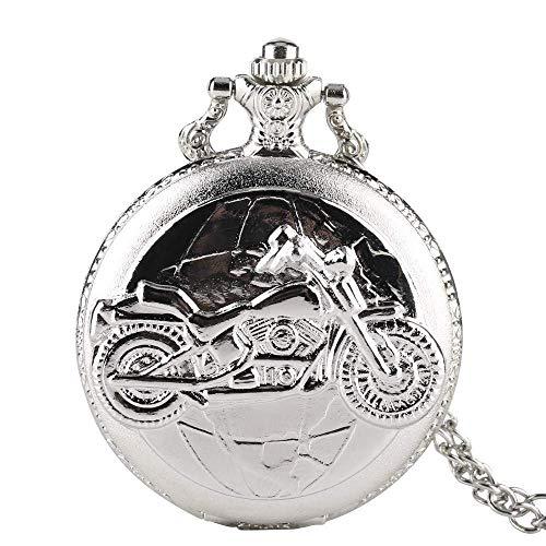 JYTFZD YANGLOU-Reloj de Bolsillo- Reloj de Bolsillo Relojes Vintage Motocicletas Motores 3D Patrón de Bolsillo Reloj con Collar Reloj de Cadena Divertido Hombre Regalo de Plata Retro Punk OUZDHB-5