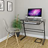 Ryan Rove Becker Metal and Glass Computer Desk - Home and Office Desks with Keyboard Tray - Writing and Laptop Console Table for Bedrooms - Modern Minimalist Design Furniture - 18x31x29 Inches, Black