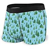 Weiche, atmungsaktive Herren Winter Forest Trees Pattern A Woodland-Unterwäsche-Boxershorts Größe XL