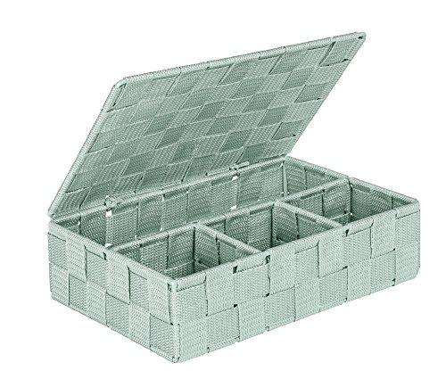 WENKO 22567100 Adria Aufbewahrungskorb mit Deckel Mint Klein -  Badkorb,  Polypropylen, 26.0 x 17.0 x 7.5 cm