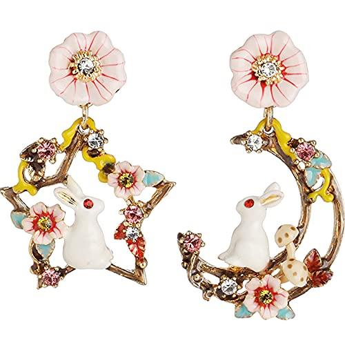 KINGVON KINGVON - Pendientes de botón con diseño de conejo blanco y flores rosas, para mujer, pendientes de moda retro, regalo de joyería para todos los días, color rosa
