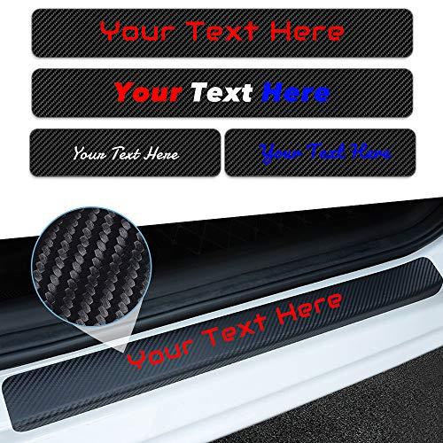 Tuqiang Black 4PCS x Custom Car Door Sill Protector Reflective 4D Carbon Fiber Sticker,Door Entry Guard Door Sill Scuff Plate Stickers Anti-Kick Scratch Auto Accessories -Text Custom