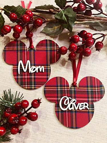 Palline di Natale Topolino in legno e tessuto Bellissimi regali per Natale