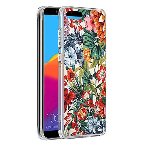 Coque Huawei Y6 2018, Eouine Etui en Silicone 3D Transparente avec Motif Fun Fantaisie Peinture Design [Anti Choc] Gel TPU Housse de Protection Coque pour Téléphone Huawei Y6 2018 (Fleur colorée)