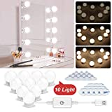 N NEWKOIN Luz de maquillaje, USB Luces de Espejo de Vanidad Luz LED con 10 Bombillas Regulables...