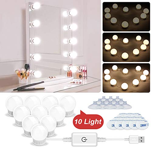 Luci da specchio, Makeup Light Trucco Luci USB Vanity Lights Luce a Specchio a LED con 10 Dimmable Light Bulb Stile Hollywood Vanity Lampada Specchio Luci di Bellezza Mirror Lampade Decorative