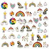 comius sharp ciondolo unicorno arcobaleno, 45 pezzi ciondoli per creazione di gioielli misti stili retrò argento ciondolo charm per gioielli fai da te per bracciale collana orecchini