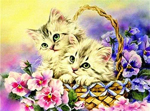 Kit de pintura diamante 5d 2 gatos en la canasta.Todas las pinturas de diamantes, caja de herramientas numerada, imágenes de punto de cruz, lienzo artesanal, para la decoración de la pared del hoga
