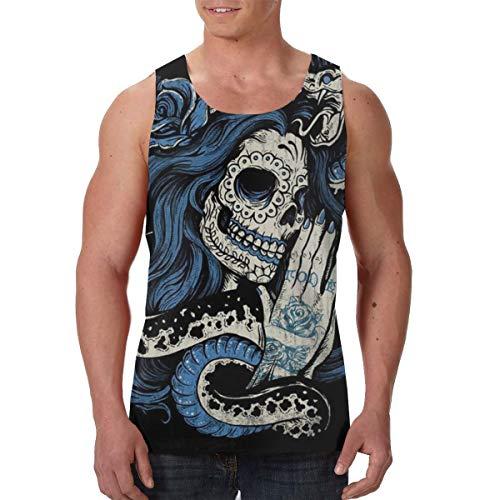 YongColer Men's Boys Sugar Skull Sleeveless Vest Undershirts Summer Chest Compression Tank Shirts Regular-Fit Vests Fitness Training Cool Dry SweatproofBeachwear