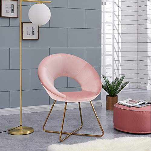 Duhome Modern Velvet Accent Chairs Upholstered Vanity Chairs Make-up Stool Home Office Guest Reception Chair Arm Leisure Chairs Dining Chair with Golden Legs Mid-Back for Living Room 1 pcs Salmon Pink