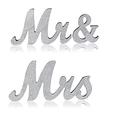 senover Mr and Mrs Sign Wedding Sweetheart Table Decorations,Mr and Mrs Letters Decorative Letters for Wedding Photo Props Party Banner Decoration,Wedding Shower Gift (Silver Glitter)