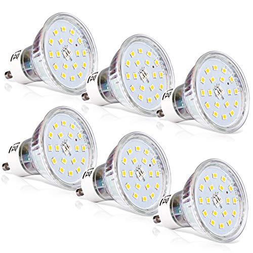GU10 LED Warmweiss, Wenscha 6er GU10 LED Lampe, 5W 550Lumen LED Leuchtmittel, 2700K Warmweiß ersetzt 50W Halogenlampe, GU10 LED Reflektorlampe Birne, 120° Abstrahwinkel Spot, Nicht Dimmbar